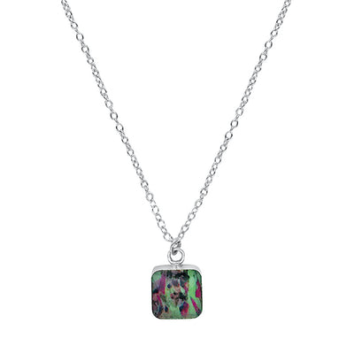 close up of square green, pink & black pendant chain necklace for liver cancer disease awareness gives back to research