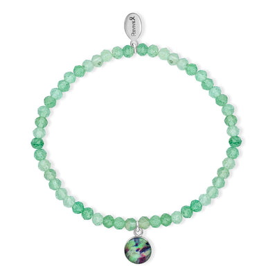 awareness stretch bracelet with green quartz stones and small round sterling silver pendant containing liver cancer cell image under resin