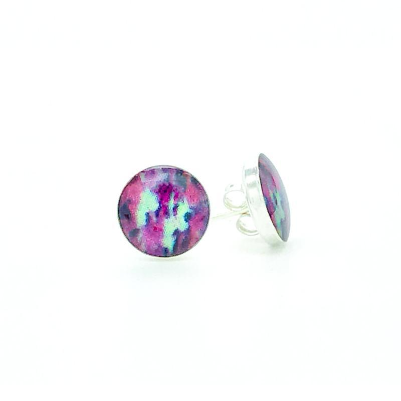 sterling silver studs with pink teal and black images set in resin post earrings