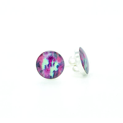 liver cancer awareness sterling silver studs with pink teal and black images set in resin post earrings