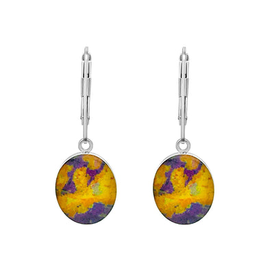 yellow and purple lymphoma awareness earrings in sterling silver oval