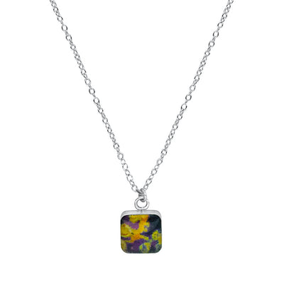 close up of square purple & yellow pendant chain necklace for lymphoma awareness gives back to research