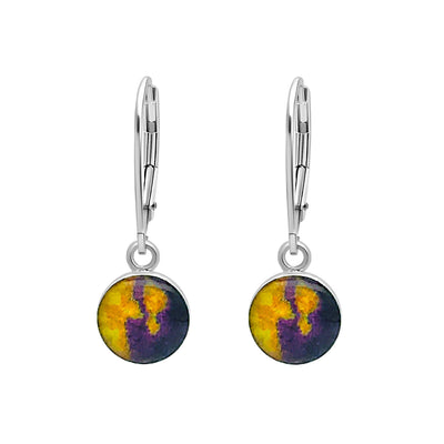 Purple and yellow sterling silver earrings for lymphoma awareness with resin pendants on lever backs