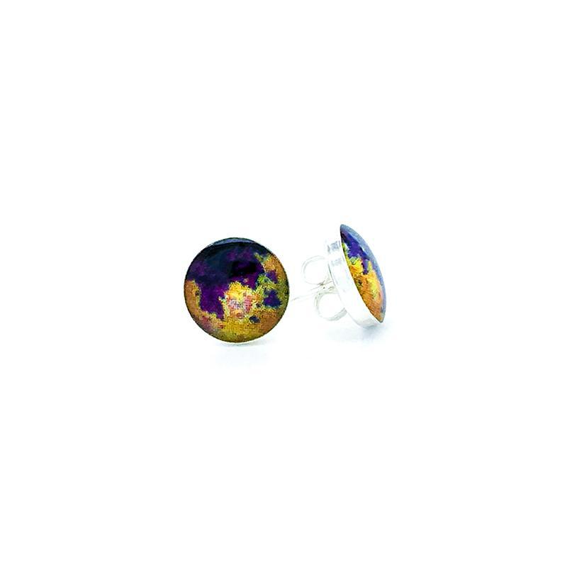 sterling silver studs with purple orange and yellow images set in resin post earrings