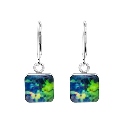 colorful melanoma skin cancer awareness earrings in sterling silver and square shaped resin pendants give back to research
