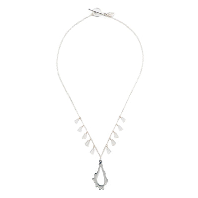 short chain necklace with sterling silver chain crystal quartz stones and sterling silver pendant