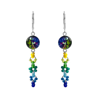 colorful melanoma skin cancer awareness earrings in sterling silver and round shaped resin pendants with long dangle of seed beads give back to research