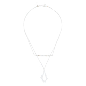 short silver necklace with sterling silver double chain, white seed bead and pearl mix bar and acrylic pendant necklace