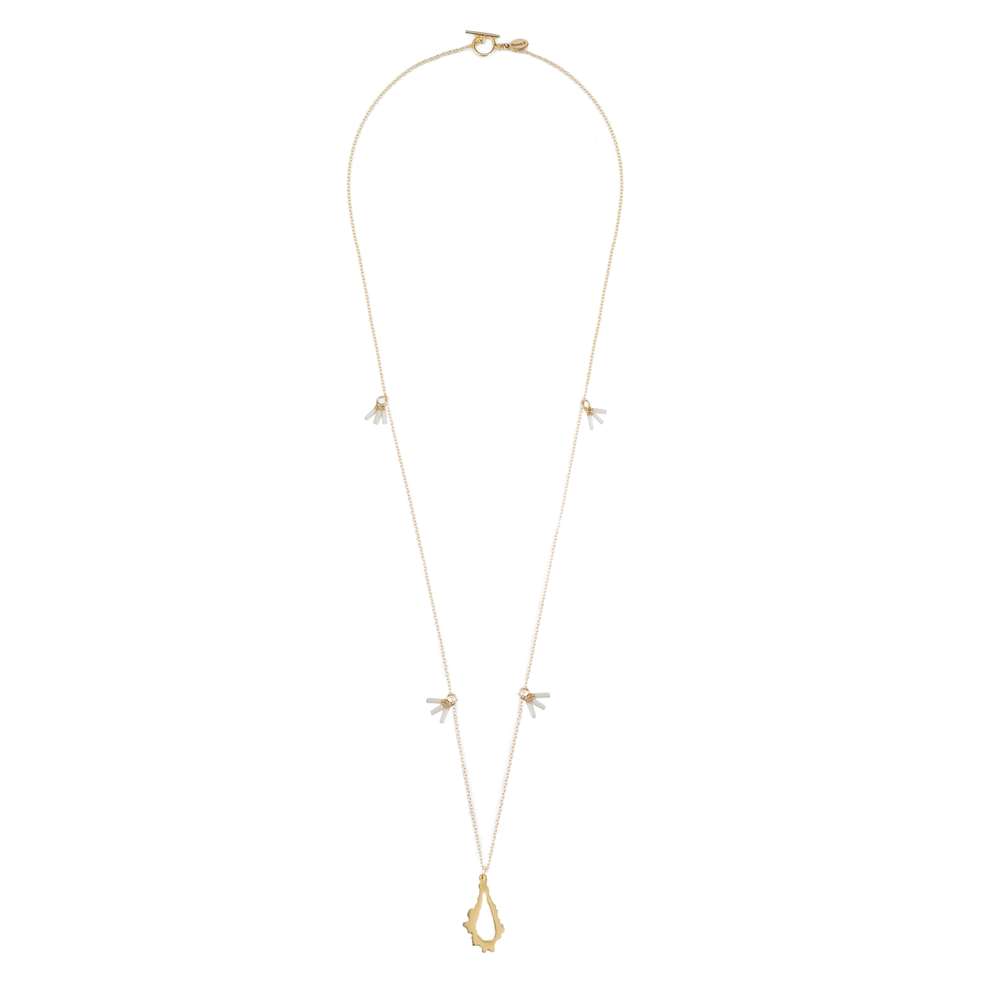 long gold necklace with 14k gold filled chain white coral and 14k gold plated pendant necklace