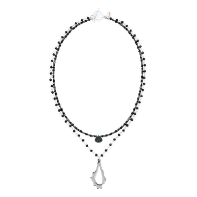 short necklace with double black beaded strand with druzy agate center stone and spinel chain with sterling silver pendant necklace
