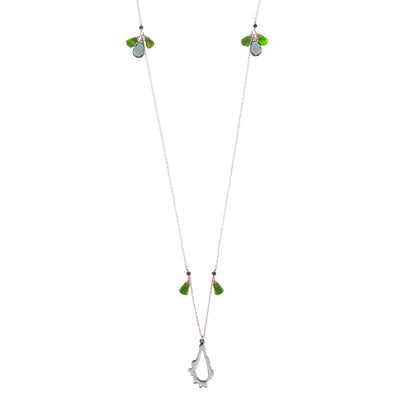 long silver chain necklace with sterling silver chain, blue quartz, diopside and chalcedony stones and sterling silver pendant necklace