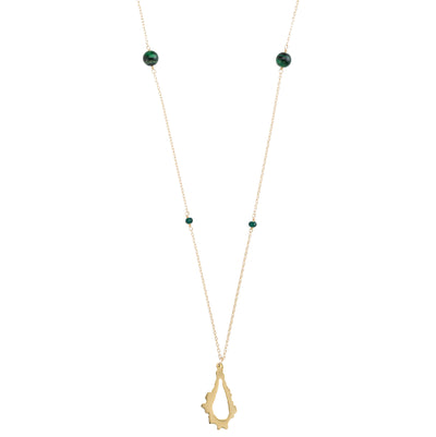 long gold necklace with 14k gold filled chain, green tigers eye, chalcedony stones and 14k gold plated pendant necklace