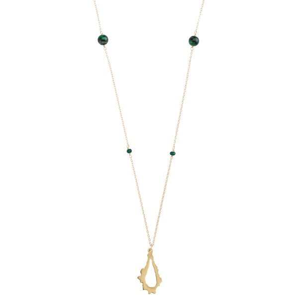 Katie Pendant with Chain, Green Tiger's Eye & Chalcedony