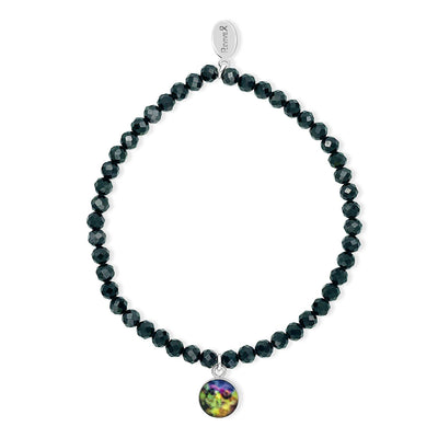black awareness bracelet with spinel for melanoma skin cancer research
