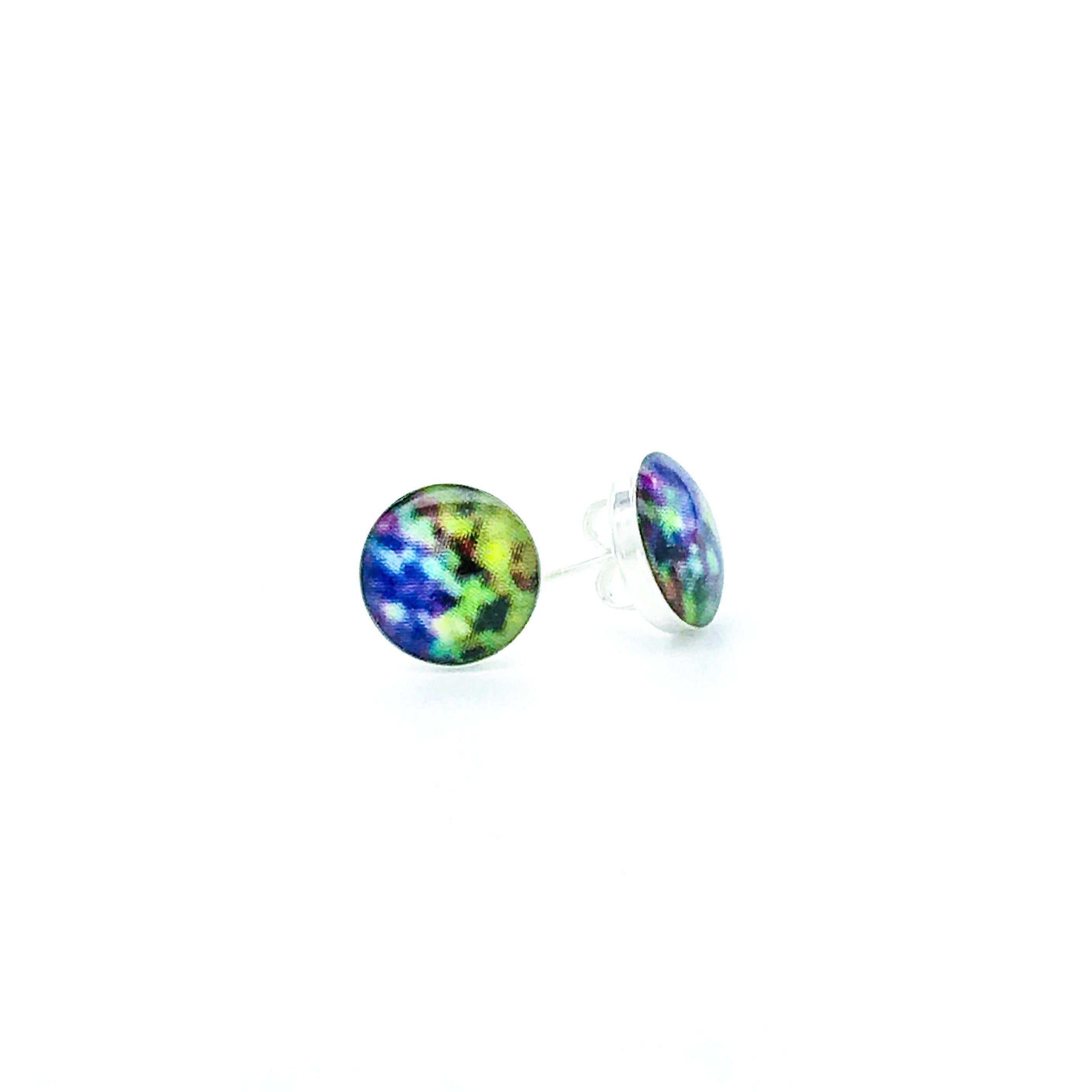 sterling silver studs with blue green and yellow images set in resin post earrings