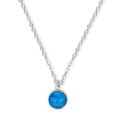 close up of Blue pendant on chain necklace for Multiple Sclerosis research and awareness
