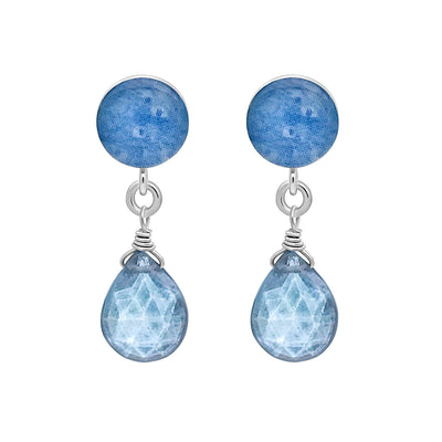 sterling silver stud earrings with blue multiple sclerosis cell image under resin and faceted mystic moonstone dangle