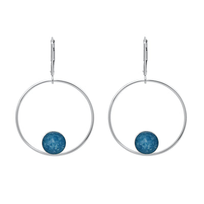 unity hoop earrings for multiple sclerosis research, sterling silver large hoops with smaller circular pendants at bottom of ms cell image under resin with leverbacks