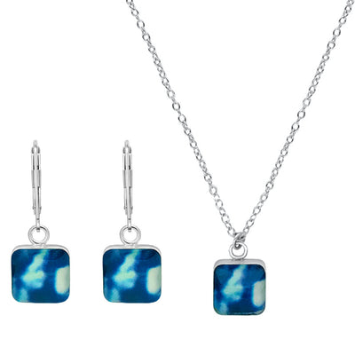 blue square necklace and earrings jewelry set for childhood cancer awareness that gives back to charity