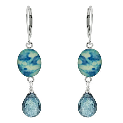 blue earrings for childhood cancer awareness with mystic blue quartz stones in sterling silver