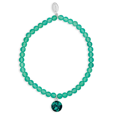 teal ovarian cancer awareness bracelet with resin pendant and sea blue chalcedony stones