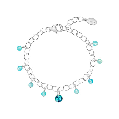 sea blue chalcedony fringe bracelet with teal ovarian cancer awareness pendant bracelet that gives back