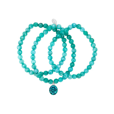 Teal green jade stretch awareness bracelets with ovarian cancer oval resin pendant