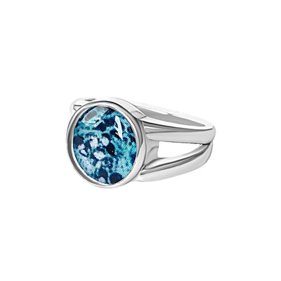 Sterling silver and teal awareness ring for ovarian cancer that gives back to charity