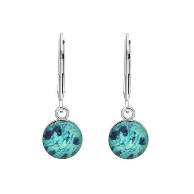 Teal and Blue sterling silver earrings for Ovarian Cancer awareness with resin pendants on lever backs