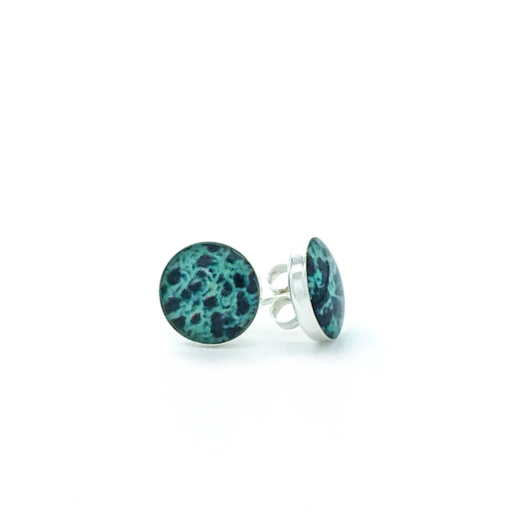 sterling silver studs with teal and blue images set in resin post earrings