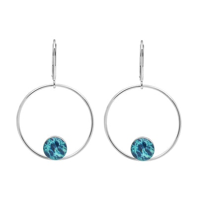unity hoop earrings for ovarian cancer awareness, sterling silver large hoops with smaller circular pendants at bottom of ovarian cancer cell image under resin with secure backs