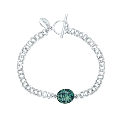 teal ovarian cancer awareness bracelet with resin pendant