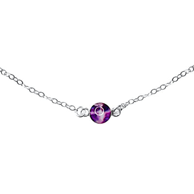 Close up of Circle of hope necklace with 6mm round purple pendant with pancreatic cancer cell image in resin on sterling silver chain necklace gives back
