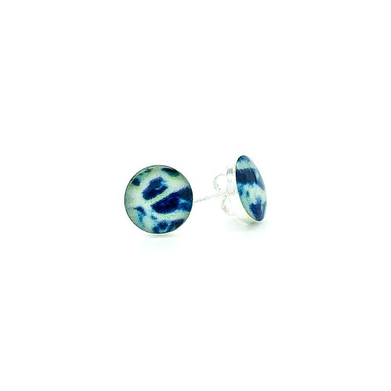 sterling silver studs with blue and white images set in resin post earrings