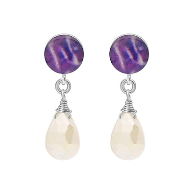 sterling silver stud  earrings with purple pancreatic cancer cell image under resin and faceted mystic moonstone dangle