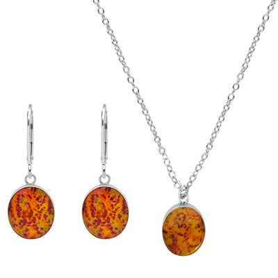 Red and orange oval earrings and necklace jewelry set for prostate cancer awareness