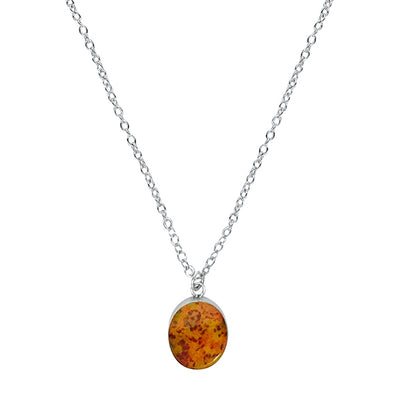 Close up of yellow, orange and red oval pendant for prostate cancer awareness pendant necklace gives back to charity
