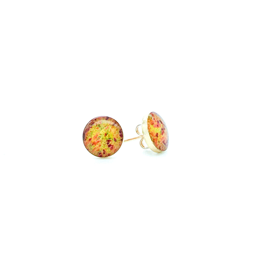 sterling silver studs with yellow orange red and green images set in resin post earrings