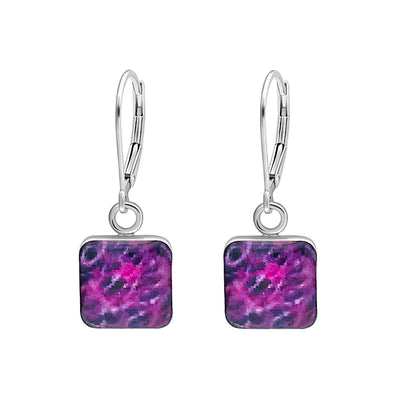 purple sarcoma cancer awareness earrings in sterling silver and square shaped resin pendants give back to research