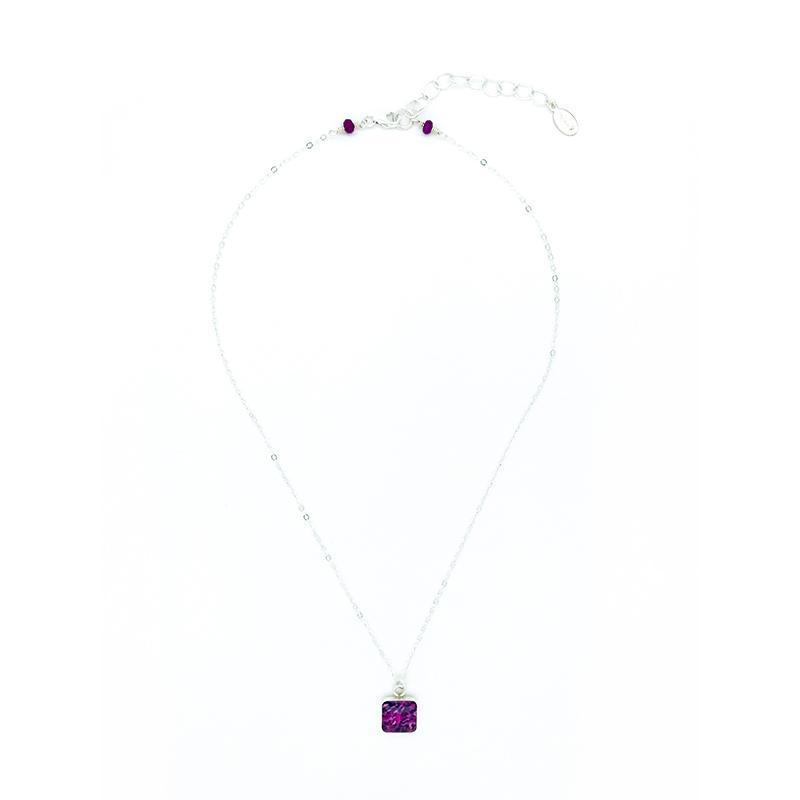 10mm sterling silver square bezel pendant with purple sarcoma cell image in resin on delicate silver chain with extender from 16 to 19 inches