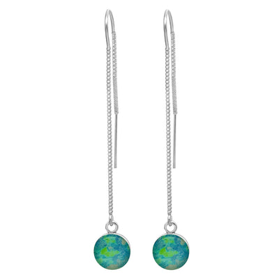 sterling silver threader earring with small round pendant containing Alzheimer's cell image under resin