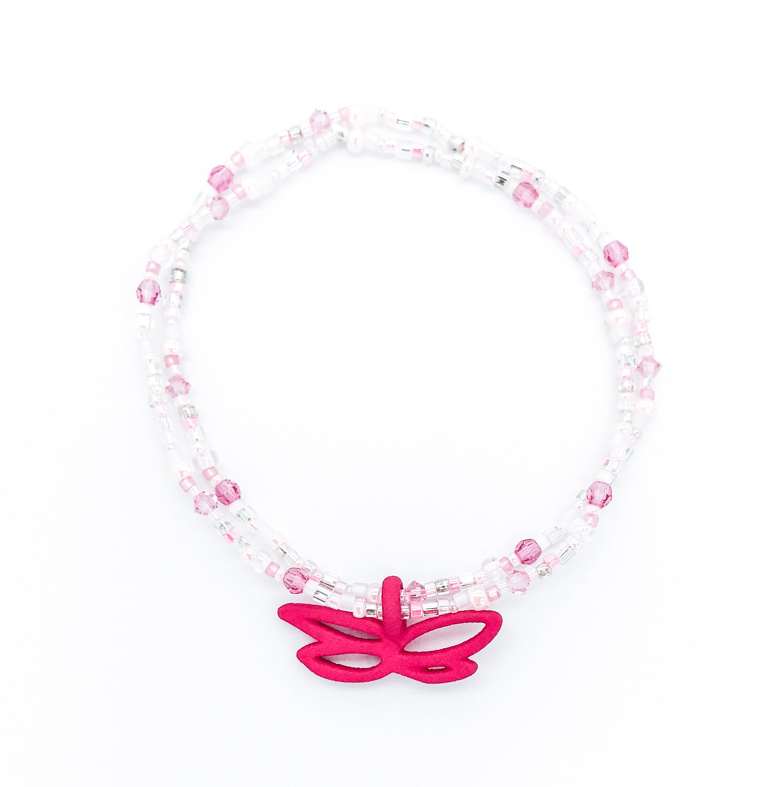 stretch bracelet with pink Swarovski crystal and seed beads with breast cancer awareness pendant