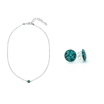 Nurse gift set short 15-17 inch silver chain with small round pendant with ovarian cancer cell image in resin and round silver stud earrings with ovarian cancer cell images in resin
