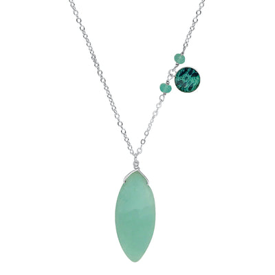 close up ovarian cancer awareness necklace with teal apatite and amazonite stones
