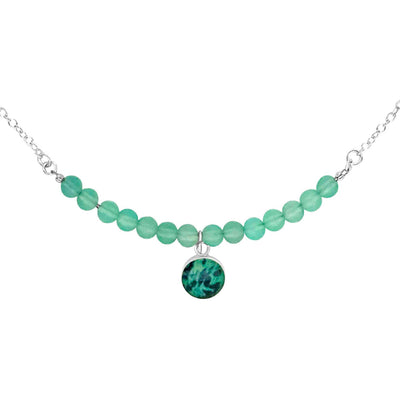 close up of 4mm faceted round sea green chalcedony beads and round ovarian cancer cell image in teal and navy blue set in resin pendant on sterling silver chain necklace