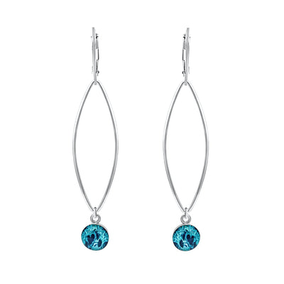 teal Petals of courage earrings for ovarian cancer awareness and research in sterling silver