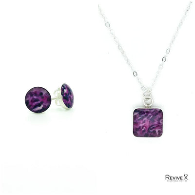 purple round 8mm stud earrings and matching 10mm square pendant necklace with images of sarcoma cell in resin in sterling silver with dainty chain set