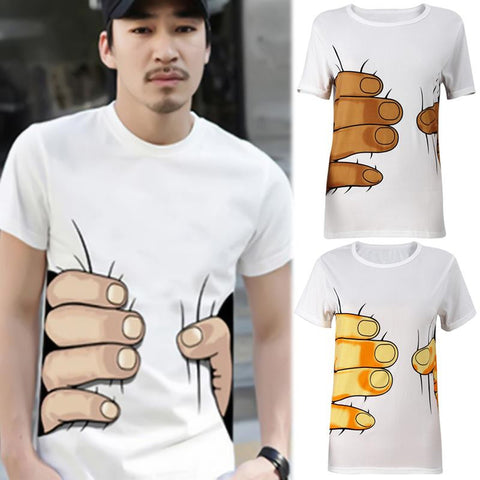 Men 3D 'Big Hand' Short Sleeve Cotton T Shirt Breathable
