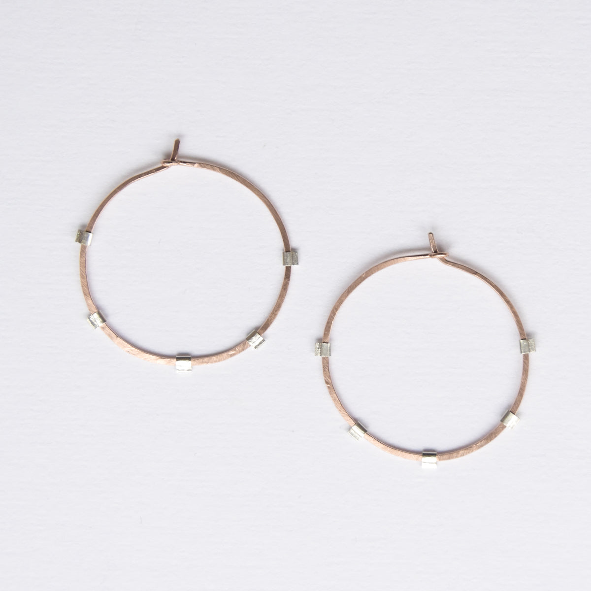 Minimalist handmade jewelry, pink gold mixed metal hoop earrings