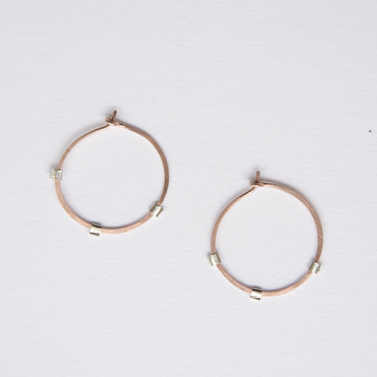 Modern hoop earrings for going out. Rose gold earrings for Valentine's Day, Feb 14th jewelry gift